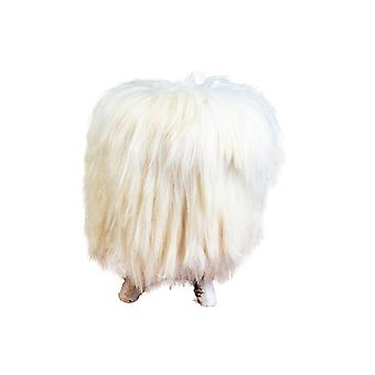 Birch Wood & Cream Sheepskin Ottoman