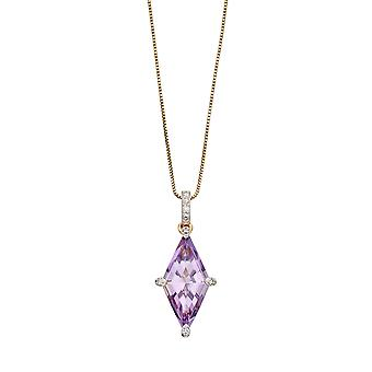 Elements Gold 9ct Yellow Gold Kite Shape Purple Amethyst & Diamond Pendant Necklace of Length 41-46cm
