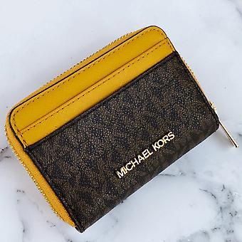 Michael kors jet set travel medium zip around card case brown mk marigold