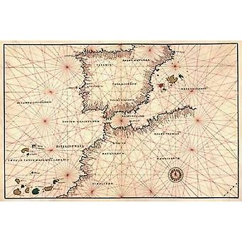 Portolan or Navigational Map of the Spain Gibraltar and North Africa Poster Print by  Battista Agnese