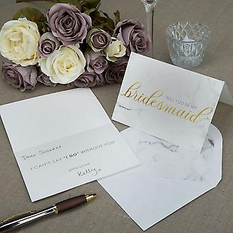 Marble Will you be my Bridesmaid Cards with Envelopes Set of 3