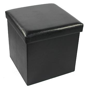 Collapsible Storage Ottoman - Black Faux Leather 15X15X15