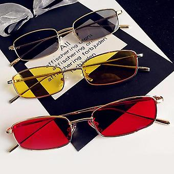 Unisex Small Retro Shades Rectangle Sunglasses, Colorful, Metal Frame, Clear