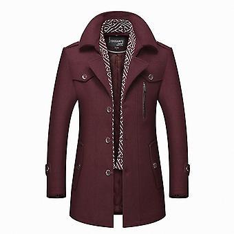 Men New Casual Brand Solid Color Wool Blends Woolen Pea Coat For Winter