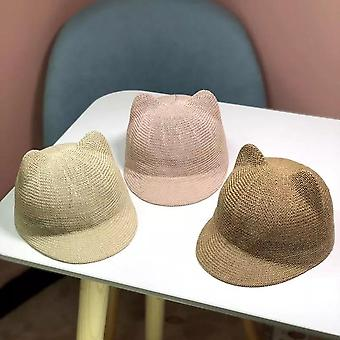 قبعة الطفل القش والصلبة الصيف الطفل قبعة الشمس / تنفس مع آذان بيتش الاطفال