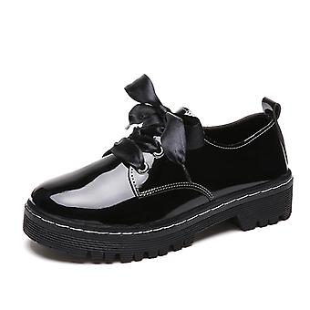 Oxford Shoes, Leather Ladies Shoes & Female Flats Lace Up Casual Shoes Plus