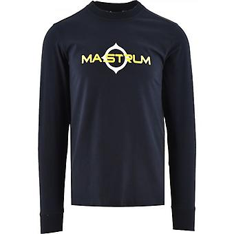 MA.STRUM Navy Long Sleeve Logo Print T-Shirt
