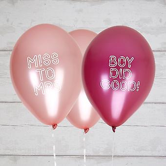 Bruden trup høne part balloner dreng gjorde godt / Miss til fru - 8 Pack