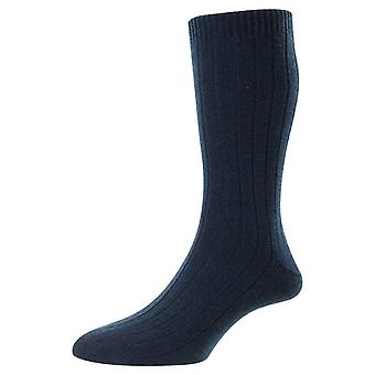 Pantherella Waddington Cashmere Socks - Dark Turquoise Mix