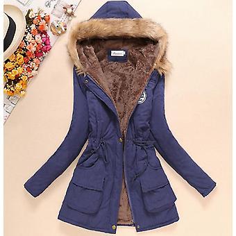 Winter Women Jacket, Medium-long Thicken Plus Size, Outwear Hooded Wadded Coat