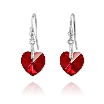 Silver heart siam earrings mv58637