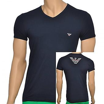 Emporio Armani Eagle Stretch coton v-Neck T-Shirt, Marine, Medium