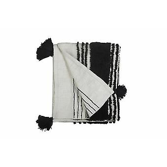 Tufted Slub Throw, Black & White- 50x60 Inch