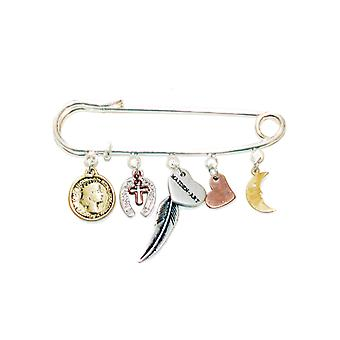 Silver Brooch With Charms