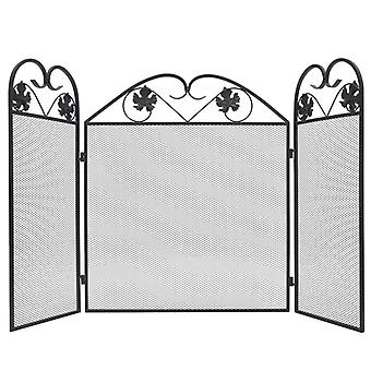 3-panel Fireplace Screen Iron Black