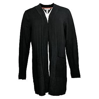 Isaac Mizrahi Live! Maglione Cardigan open-front W/Tasche Nero A391476