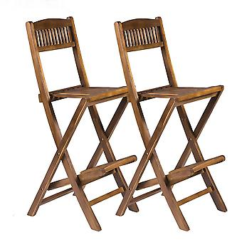Set of 2 Wooden Folding Bar Chairs with Footrest  - Indoor Outdoor High Stools