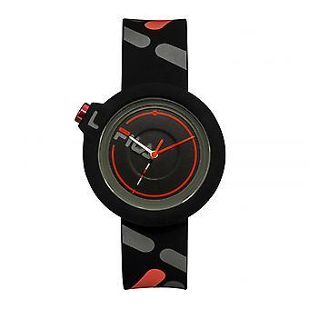 FILA 38-6081-008 Gemengde Horloges - Zwarte Siliconen Armband