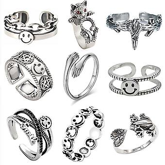 9pcs Retro Ring Set Smiling Face Hug Letters Alloy Woman Ring 9pcs Retro Ring Set Smiling Face Hug Letters Alloy Woman Ring 9pcs Retro Ring Set Smiling Face Hug Letters Alloy Woman Ring 9