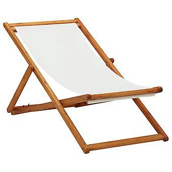 vidaXL Folding beach chair eucalyptus wood and fabric cream white