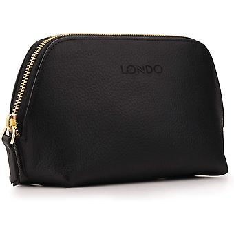Gerui Genuine Leather Makeup Bag Cosmetic Pouch Travel Organizer Toiletry Clutch (Black)
