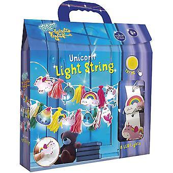 FengChun Lichterketten Bastelset se Einhorn-Lichterkette mit bunten Pombons und