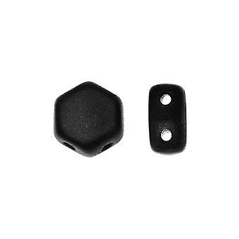 Czech Glass Honeycomb Beads, 2-Hole Hexagon 6mm, 30 Pieces, Jet Matte