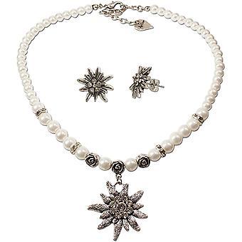 FengChun Alpenflstern Trachtenschmuck-Set Perlen-Trachtenkette und Ohrstecker Strass-Edelwei -