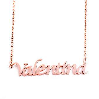 KL Valentina - 18 karat rose forgyldt halskæde, med tilpasselig navn, justerbar længde 16 - 19 cm