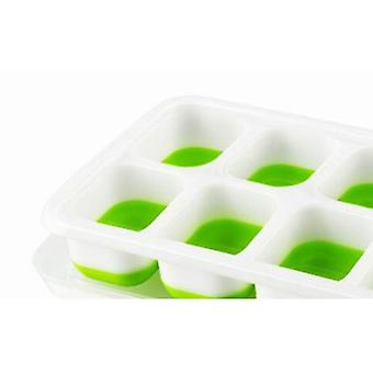 Ice Cube Maker The Ice Cubes Tray Mold With Lid With 14 Ice Cubes (25*10 *3cm,Green)