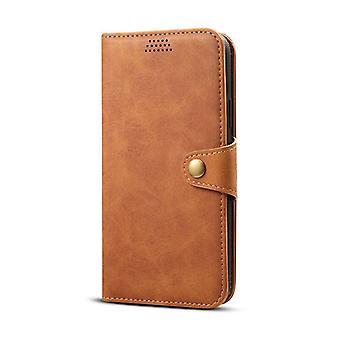 Portefeuille étui en cuir fente pour carte pour samsung s10e brun no2743