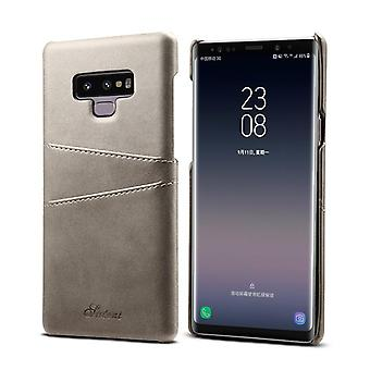 Leather case with wallet card slot for Samsung note9 gray