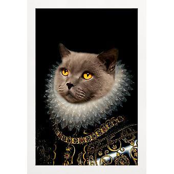 JUNIQE Print - Golden Eyes - Cats Poster in Grey & Black