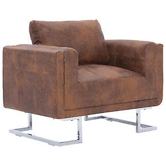 vidaXL cube-fauteuil Brun En Daignoir