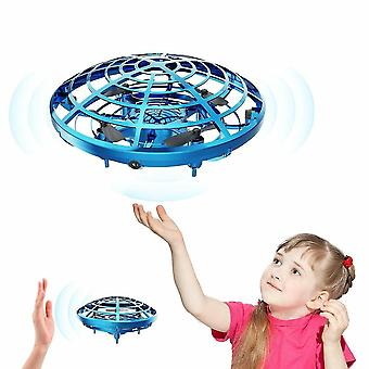 Blue mini drone ufo hand operated rc helicopter drone toy for kids cai755