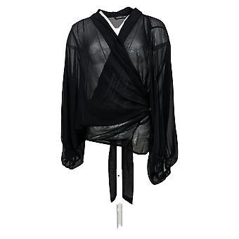Colleen Lopez Dames Sweater Tie Front Topper Zwart 735824
