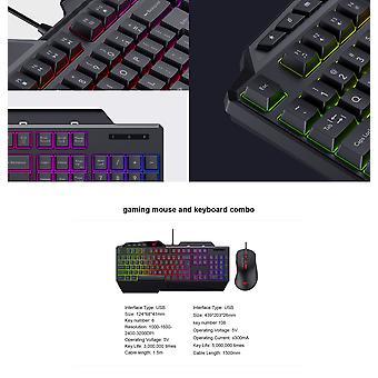 Havit Gaming Tastatură și Gaming Mouse Combo | QWERTY - 1,5 metri - iluminare RGB | 6 butoane - Lungime cablu: 1,5 metri