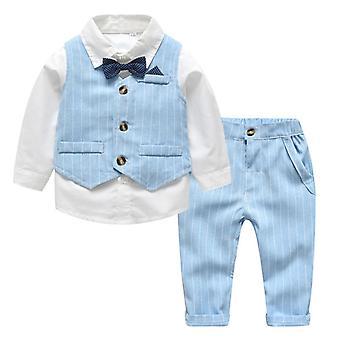 Tavasz-ősz Baby Boy Gentleman Suit Fehér ing Formális Gyerek ruhák készlet