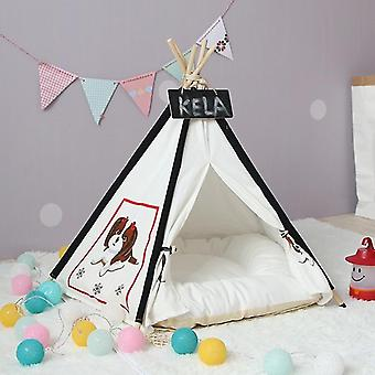 Pet Tent Removable And Washable Wooden Cat Kennel with Cushion, Specification: Medium