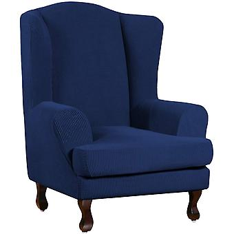 Stretch jacquard wingback chair covers slipcovers wing chair covers (base cover plus seat cushion cover, navy)