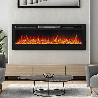 60 POUCES encastré encastré led cheminée électrique avec 12 flammes couleur