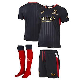 Castore Kids Rangers Away Mini Kit 2021/22 Jersey Calze Corte Set Calcio