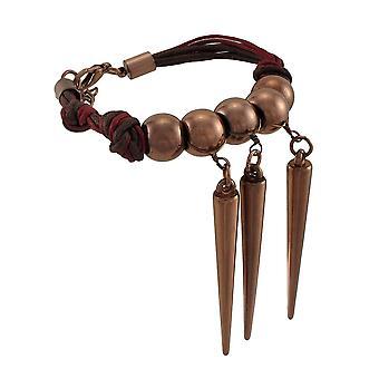 Waxed koord armband met koper gekleurde kralen en stekels
