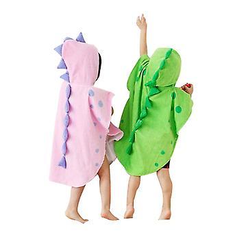 2PCs Děti Dinosaur Capped Beach Towel Roztomilý Rohatý tvar Design Hooded župan Plášť Pláště