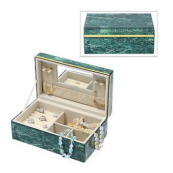 Gemstone Jewellery Förvaringslåda med gyllene kant och inre spegel