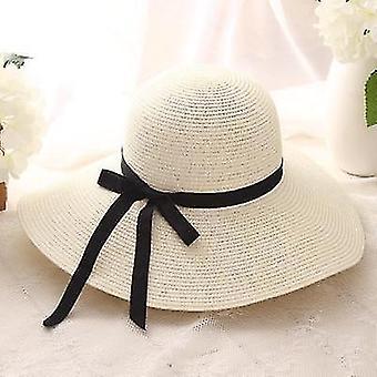 Simple foldable wide brim straw sun beach hat(55-58cm)(Milk White)