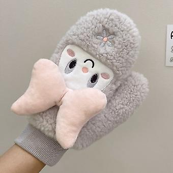 Winter Girls Warm Extra Thick Cute Student Bow Cartoon Student Mittens Plush Gloves