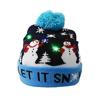 Christmas Hats Elk Santa Sweater Beanie Knitted Hat With Led Light Up Cartoon Christmas Gift For Kids New Year