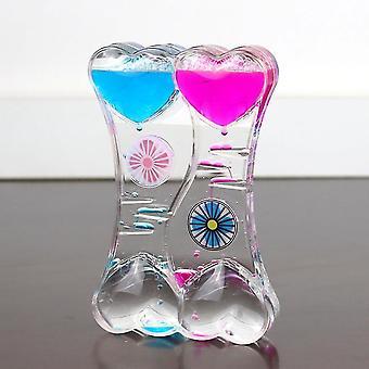 Caraele Dual Color Oil Hourglass Floating Liquid Motion Bubble Drip Timer Horloge Acrylique Desk Decor