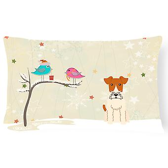 Christmas Presents between Friends Wire Fox Terrier Canvas Fabric Decorative Pil